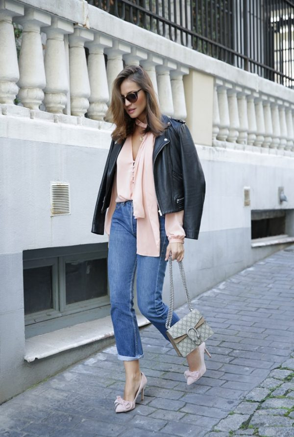 pink blouse and nude heels spring outfits 2016 bmodish