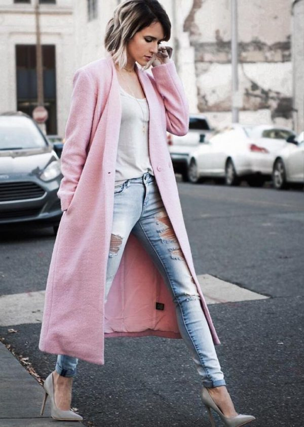 pink long coat casual spring outfit idea bmodish
