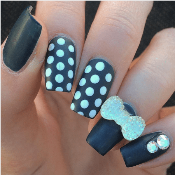 50 cute bow nail art designs be modish polka dot black and white with bow nail art bmodish prinsesfo Choice Image