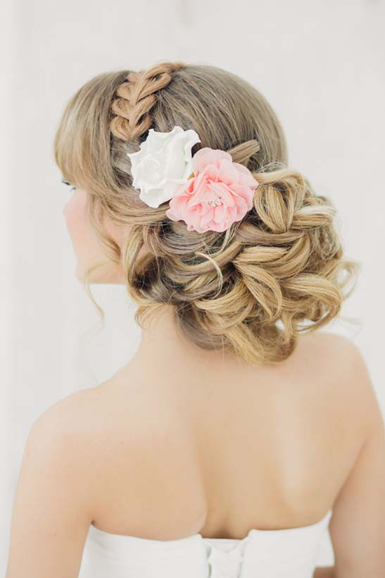 romantic updo with braid wedding hair bmodish
