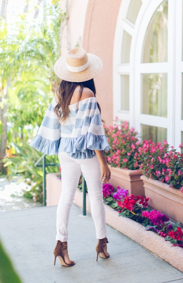 ruffled off shoulder top cute spring outfit bmodish