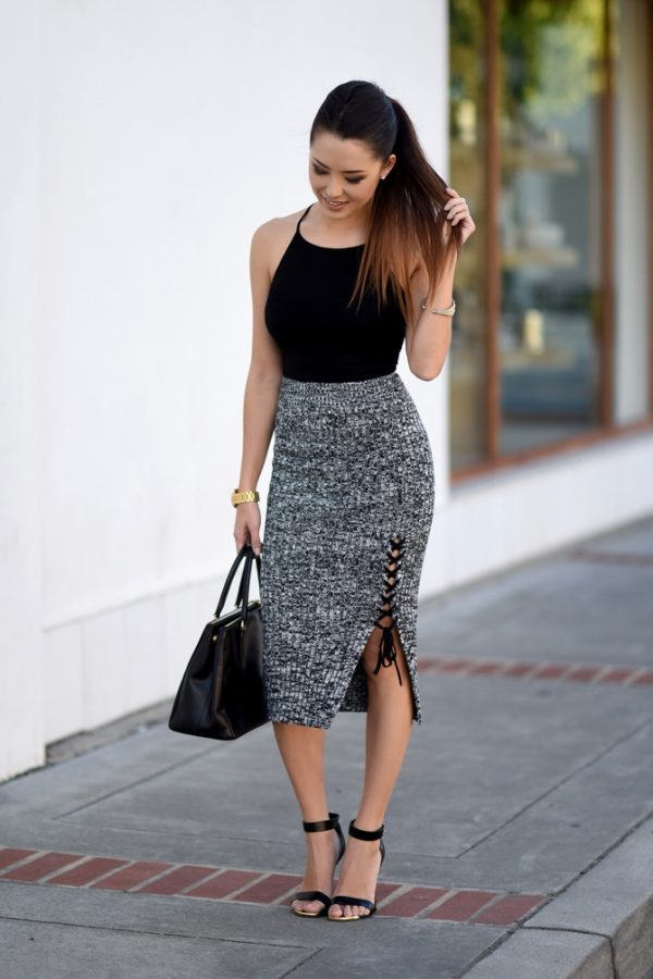 side laced up pencil skirt outfit bmodish