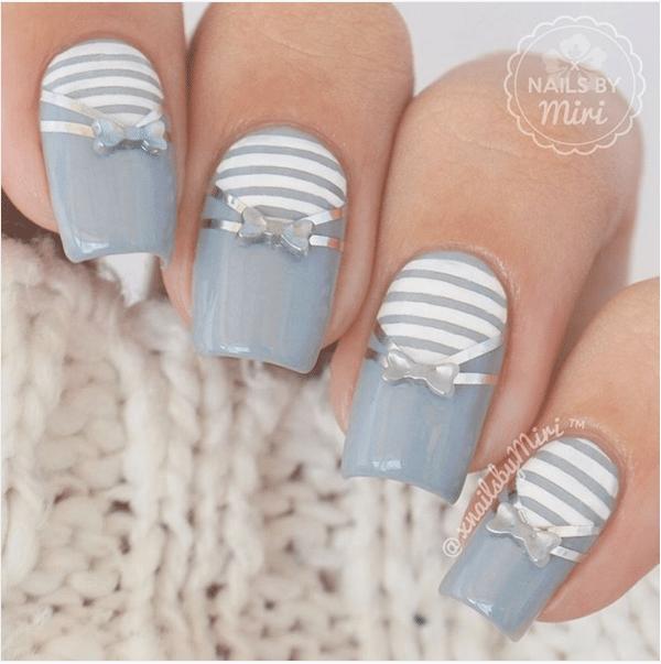 silver bow nail art bmodish