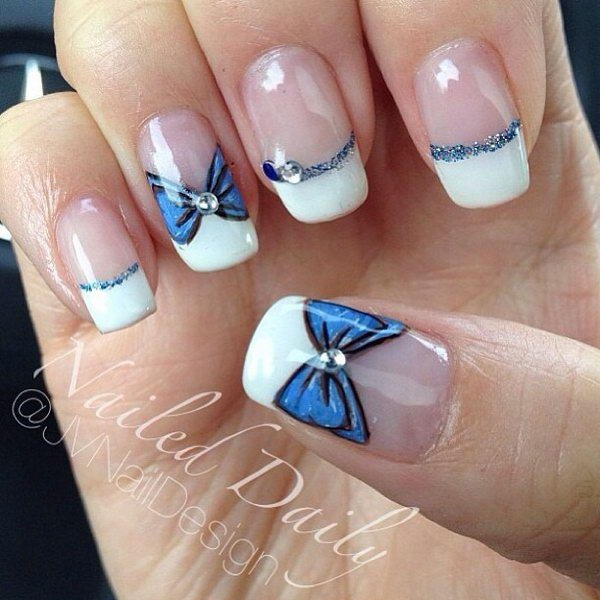 50 cute bow nail art designs be modish simple glitter blue bow nail art bmodish prinsesfo Images