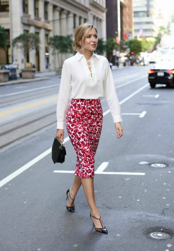 skirt-for-work-white-blouse-black-pointed-toe-heels outfit bmodish