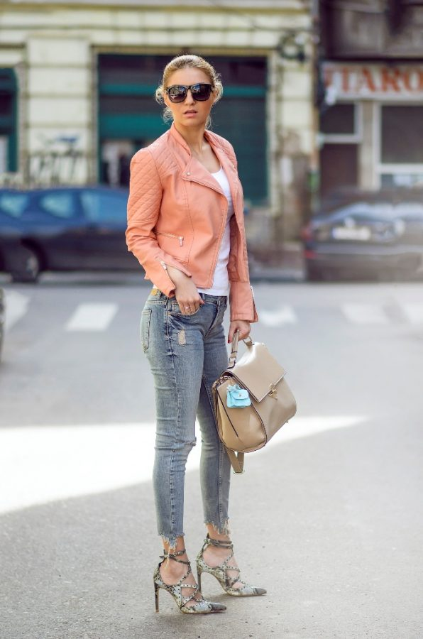 soft coral leather jacket with skinny jeans spring style bmodish