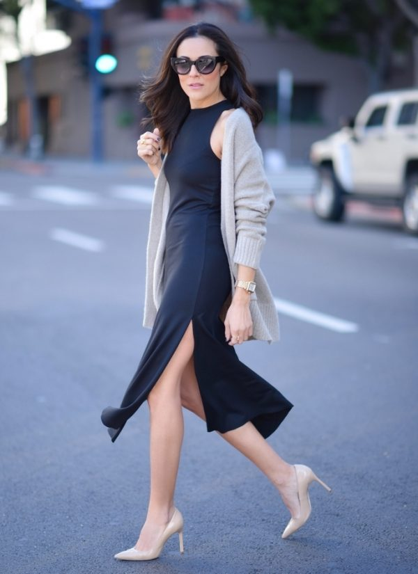 split dress with cardigan bmodish