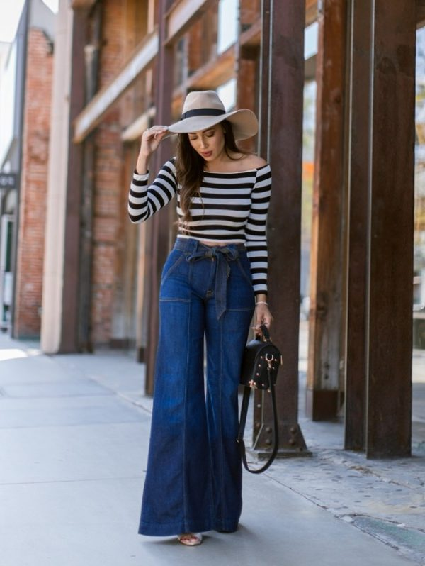stripe top with wide leg jeans spring outfit bmodish
