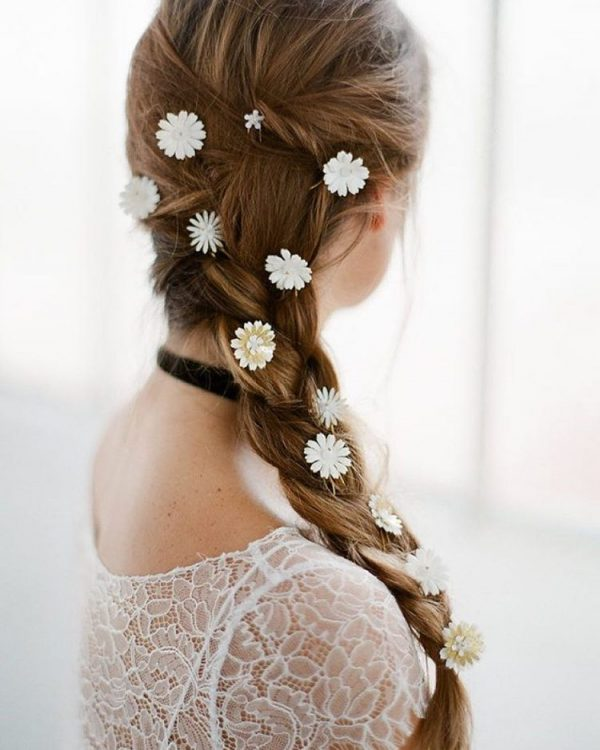 stunning side braid with flower pin bridal hair bmodish