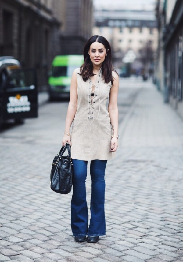 suede lace up tunic with flare jeans bmodish