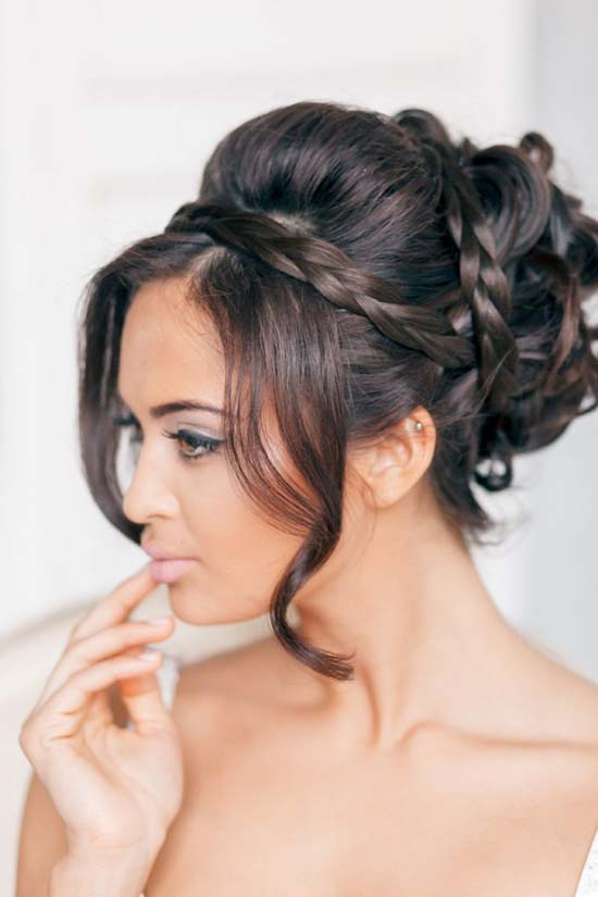 updo with braid wedding hair bmodish