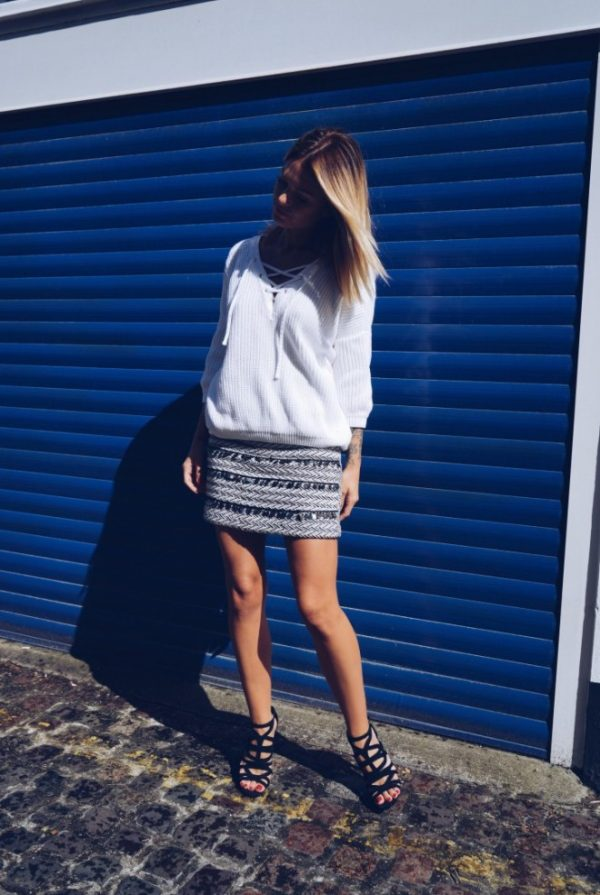 white lace up sweater with aztec skirt bmodish
