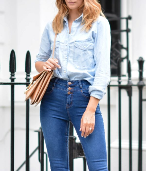 NEW-LOOK-DENIM-THE-HIGH-WAISTED-JEANS-DENIM-SHIRT-CHLOE-FAYE-BAG outfit bmodish