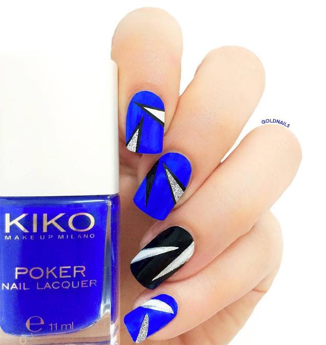 Royal blue and black nail art bmodish