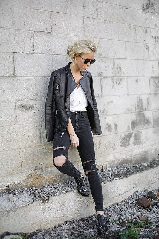 black ripped high waisted skinny jeans rocker style outfit bmodish