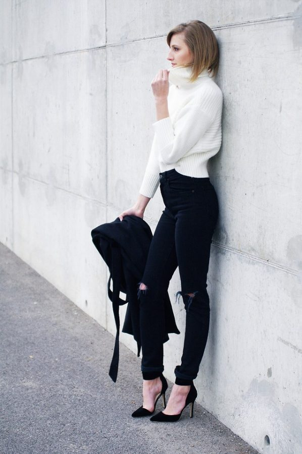 black skinny high waisted jeans with cropped turtleneck sweater bmodish