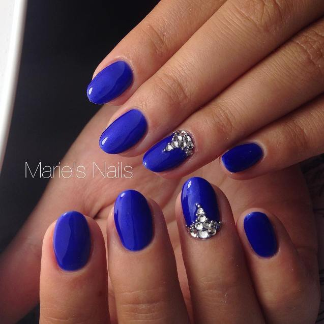 blue embellished nail design bmodish
