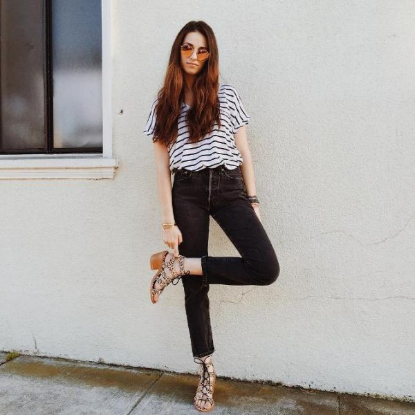 striped top high waisted jeans outfit bmodish