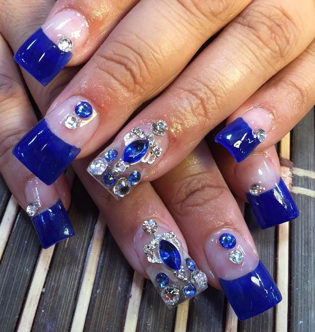 embellished royal blue nail design bmodish - Experience The Glamorous Style Of Royal Blue Nail Designs - Be Modish