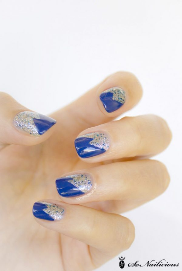 glitter-royal-blue-nails-tape-nail-art bmodish