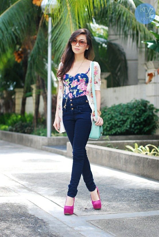 high waisted jeans with corset top outfit bmodish