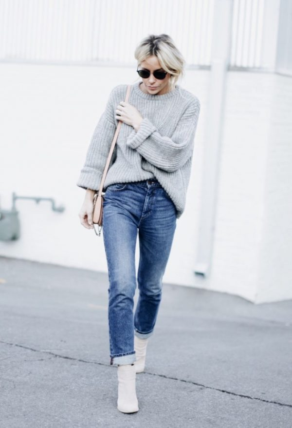 high waisted jeans with sweater casual outfit bmodish