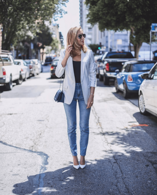 light-wash-high-waisted-jeans-white-pinstripe-blazer-navy-tank-white-pointed-toe-pumps-outfit bmodish
