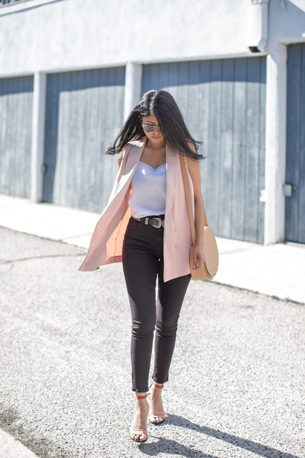 pink vest skinny high waisted jeans bmodish