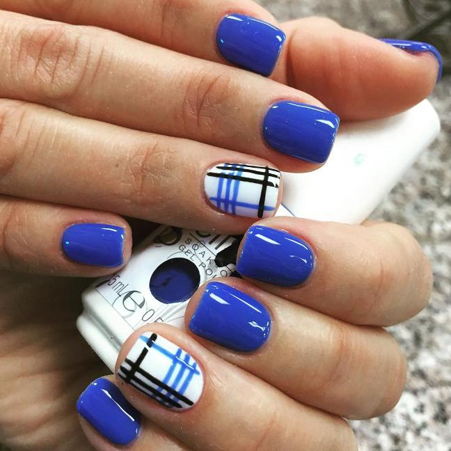 plaid royal blue nail design bmodish