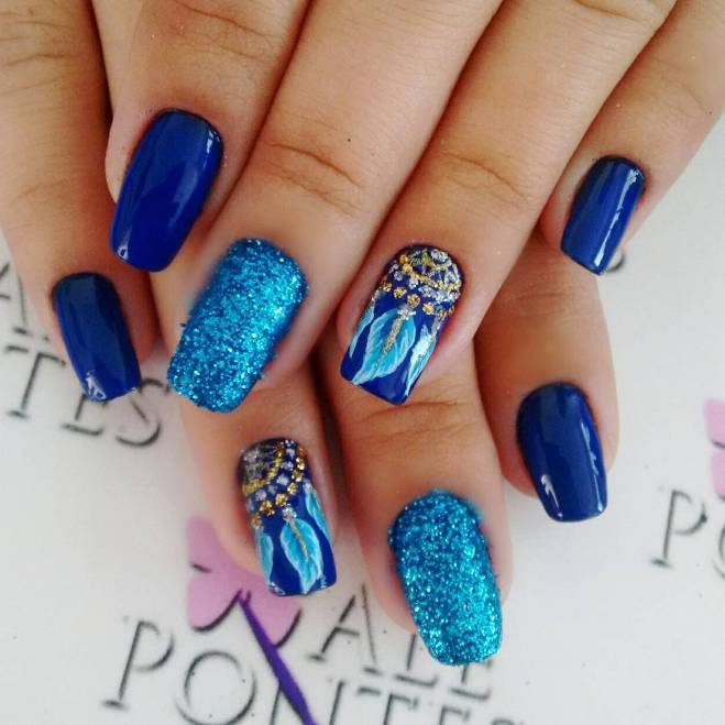 royal blue dream catcher nail design bmodish