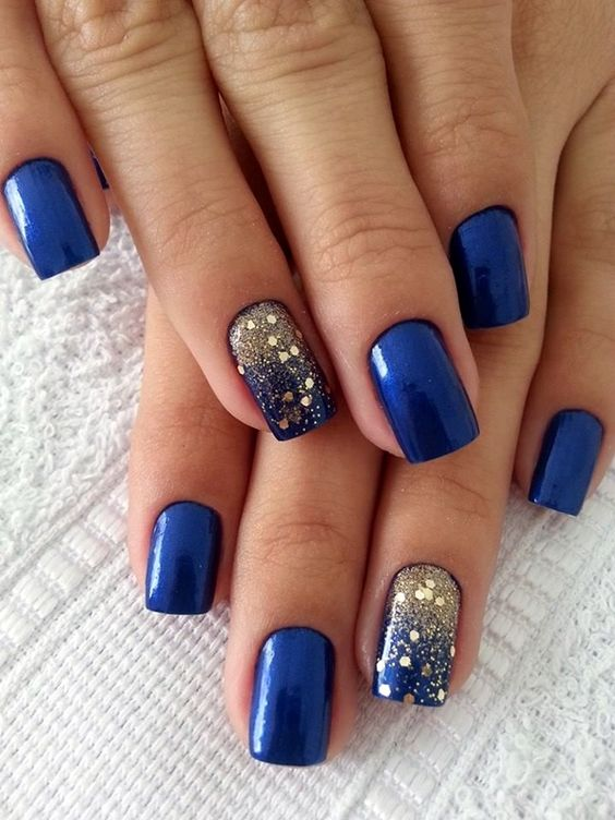 royal blue golden winter nail art bmodish