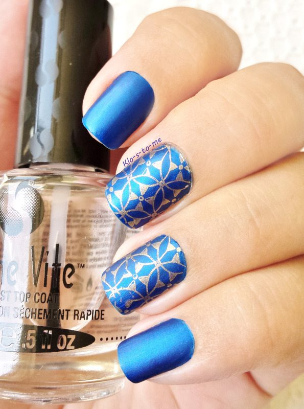 royal blue matt stamping nails bmodish