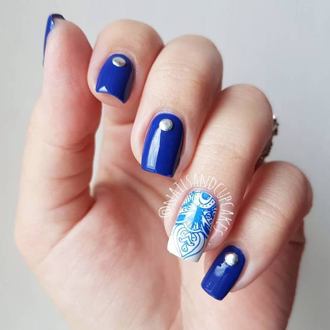 royal blue nail polish nail design bmodish