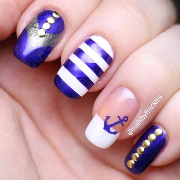 royal blue nautical nails bmodish