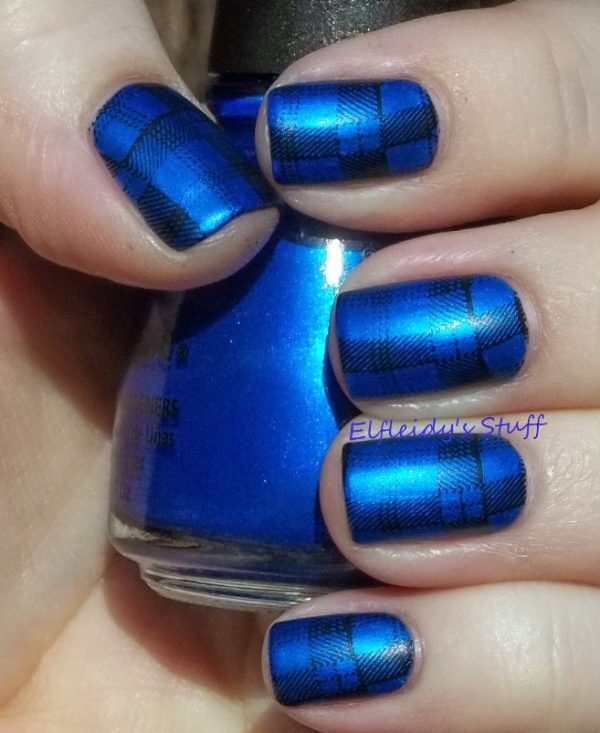 royal blue plaid nail design bmodish