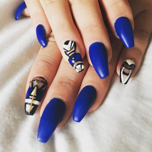 royal blue prom nails bmodish