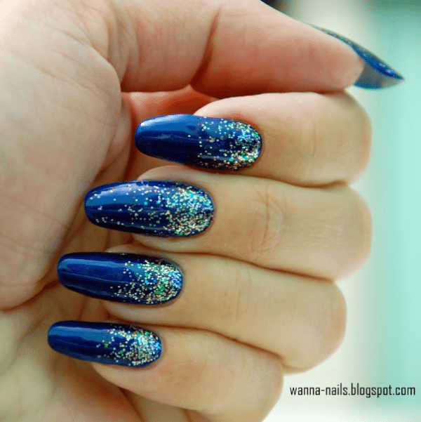 Experience the glamorous style of royal blue nail designs be modish royal blue silver glitter gradient nail design bmodish prinsesfo Images
