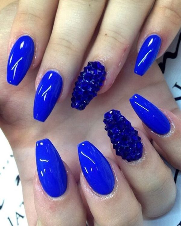 royal blue studded nails bmodish