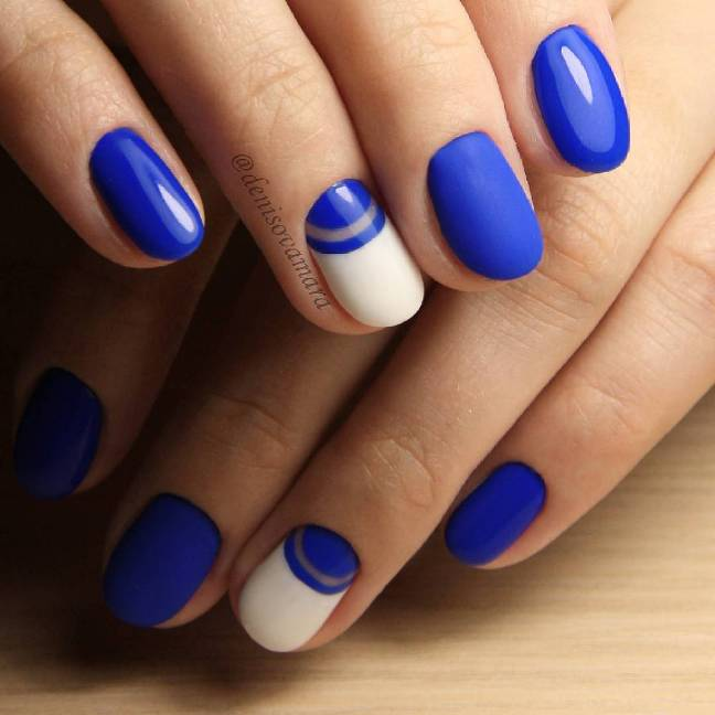 simple blue and white nail design bmodish