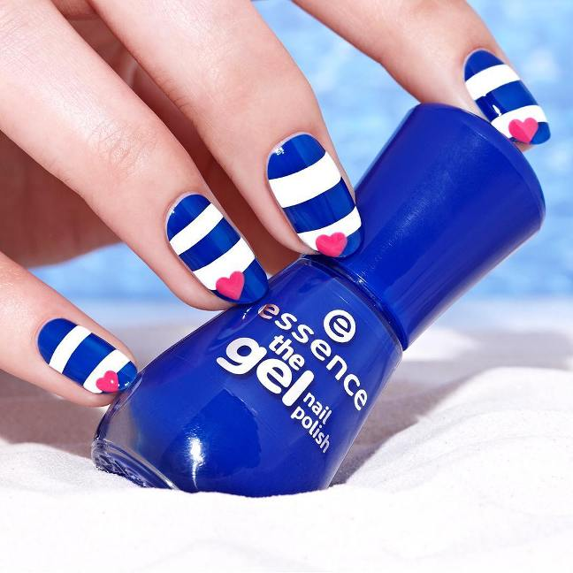 striped blue and white royal blue manicure bmodish
