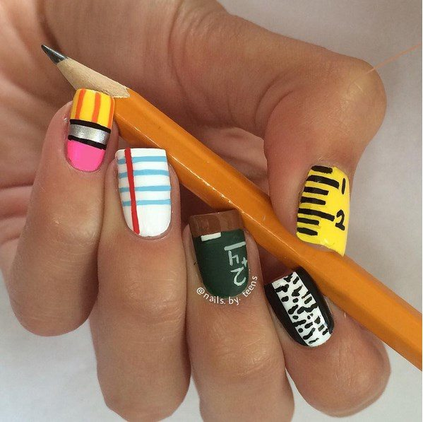 back to school nail art bmodish