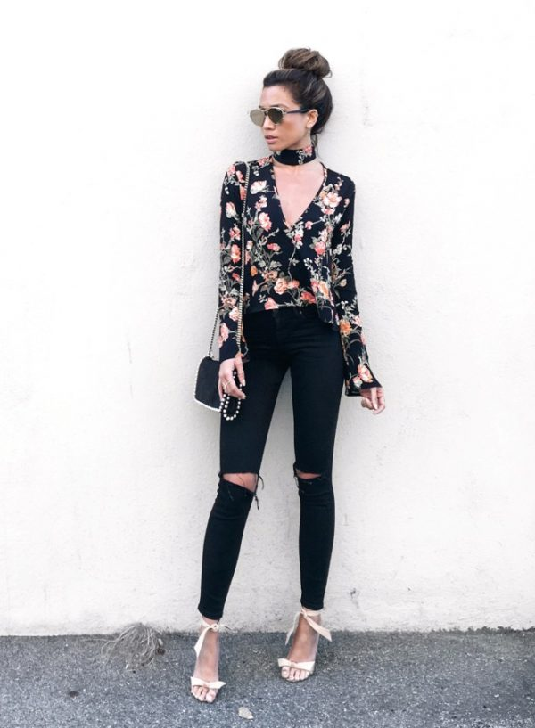 black ripped jeans with floral blouse bmodish