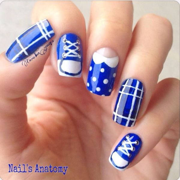 blue back to school nail design bmodish