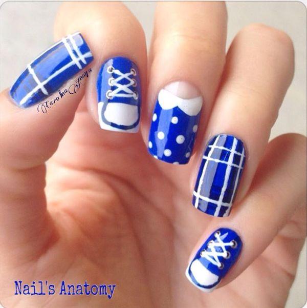 blue back to school nail design bmodish