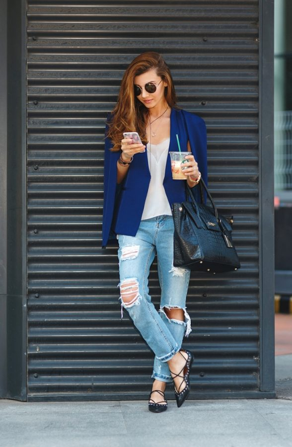 blue cape blazer with ripped jeans outfit bmodish