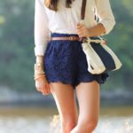 blue lace shorts cute outfit bmodish