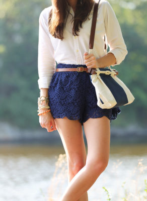 blue lace shorts cute outfit bmodish