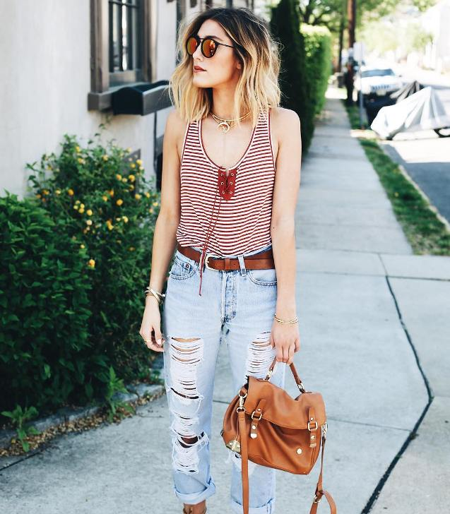 casual summer ripped jeans outfit bmodish