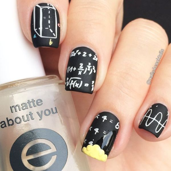 chalkboard back to school mani bmodish