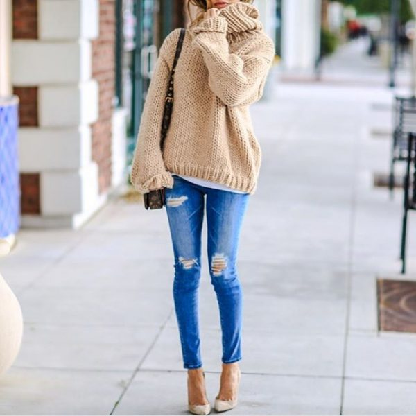 cozy knit sweater weather with ripped jeans bmodish